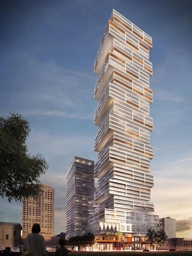 Looking northwest at 88 Queen, image by P+S/IBI for St Thomas Developments Inc.