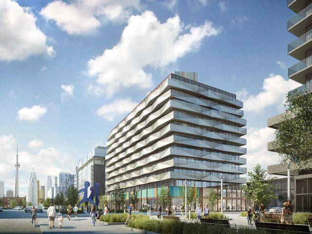 Looking west to the Canary Block Condos designed by KPMB Architects for DundeeKilmer