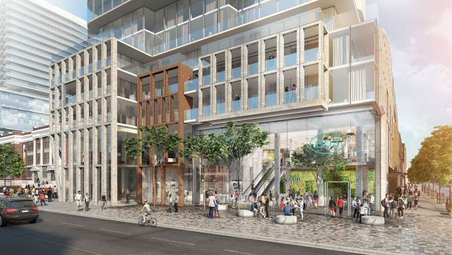 Bloor & Dufferin, concept plan, looking southwest across Dufferin Street, image courtesy of Capital Developments and Metropia