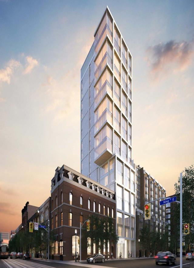 Looking southeast at 65 George, rising to the south of 187 King East, image by Core Architects