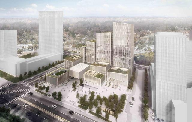 Looking northwest to the Etobicoke Civic Centre by Henning Larsen, Adamson Associates, and PMA