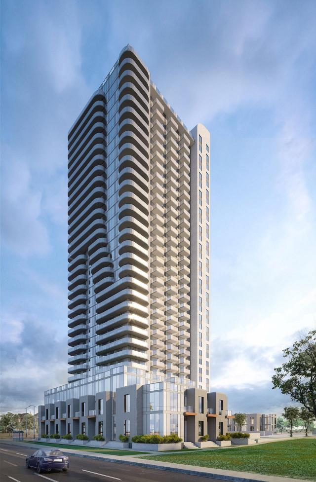 Looking north to Mississauga Square Condos, designed by Turner Fleischer Architects for Plaza