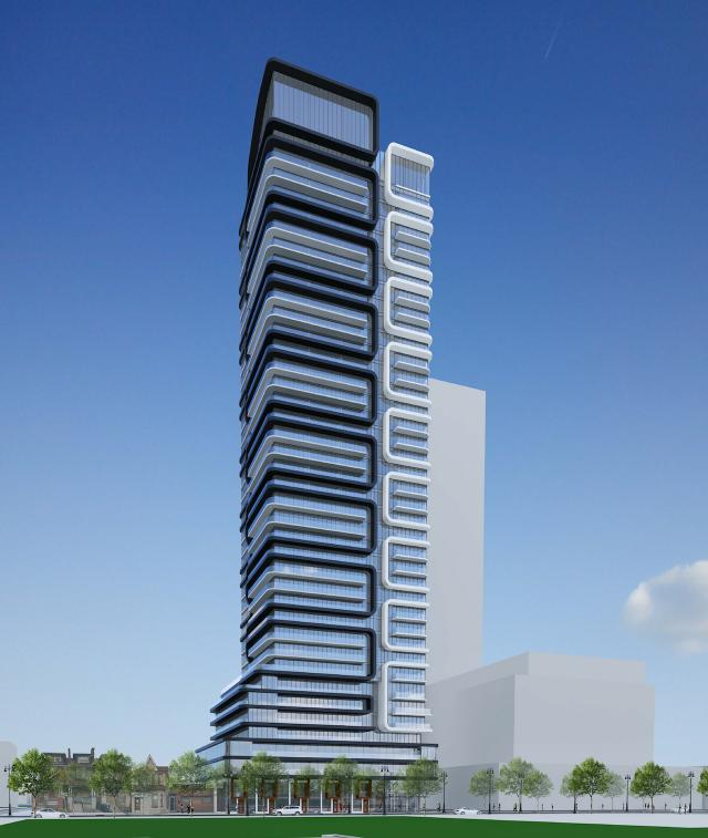 Looking southeast to 83 River Street, designed by IBI Group Architects for Broccolini, Toronto