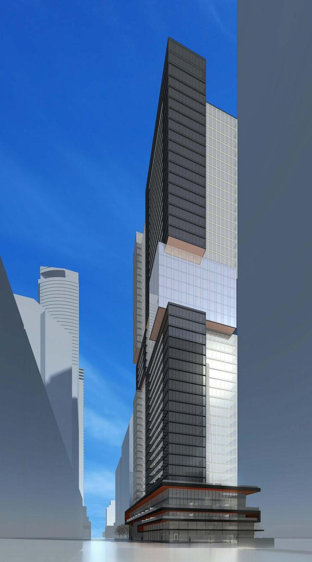 Looking east towards 43 Gerrard West rentals, image by IBI Group Architects