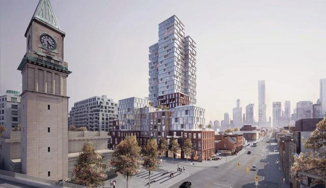 Looking southeast to Scrivener Court by COBE Architects for Diamond Corp and Tricon