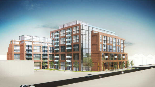 Looking northeast to 2306 St. Clair Avenue West, designed by Graziani + Corazza Architects for Marlin Spring Developments