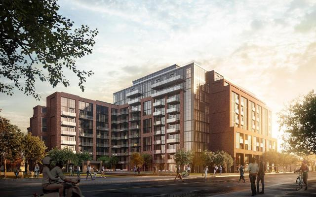 Looking northeast to Stockyards District Residences, designed by Graziani + Corazza for Marlin Spring