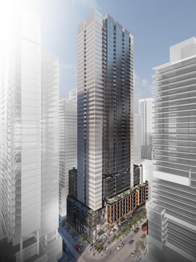 Looking northeast towards 400 King West, designed by Hariri Pontarini Architects for Plaza