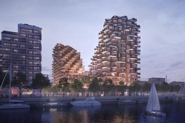 Looking north to Aqualuna at Bayside, image by 3XN for Tridel