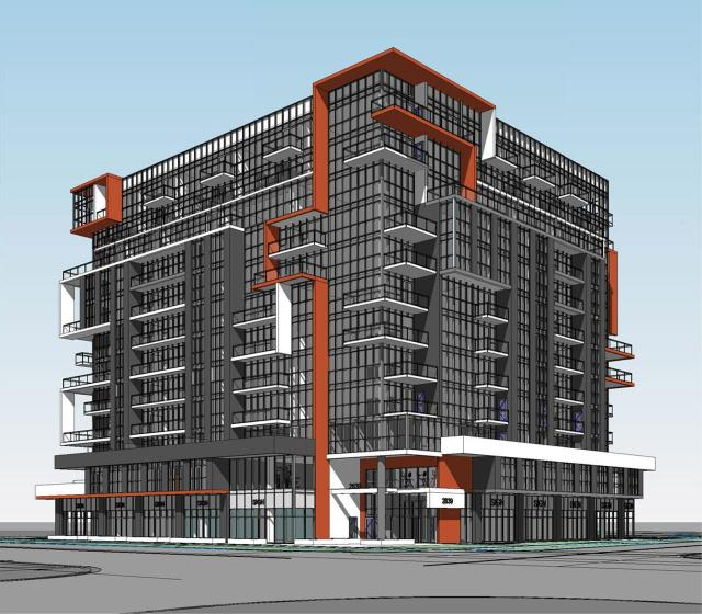 Looking northeast to 2839 Jane, designed by Hatem Nassif Architects for CTN Developments