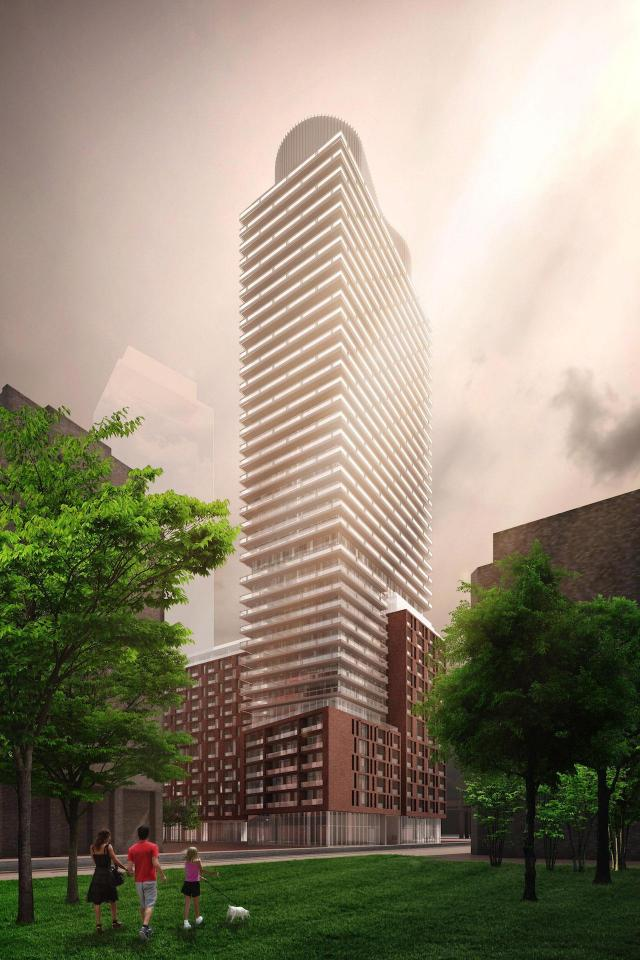 Looking southeast to 33 Parliament, designed by architectsAlliance for Graywood Developments