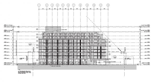 South elevation, 250 Lawrence West, Graywood Developments, Quadrangle, Toronto