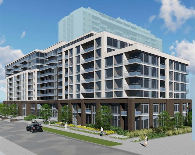 Looking southeast to the north addition to 3636 Bathurst, image by Kirkor Architects for Pinedale Properties