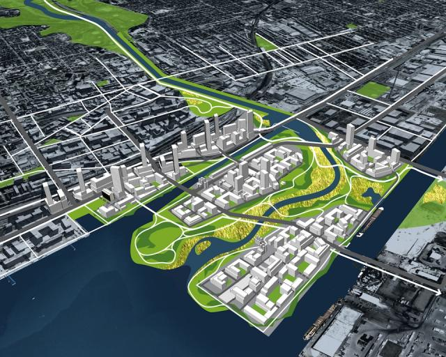 Aerial view of Lower Don Lands, image courtesy of Waterfront Toronto