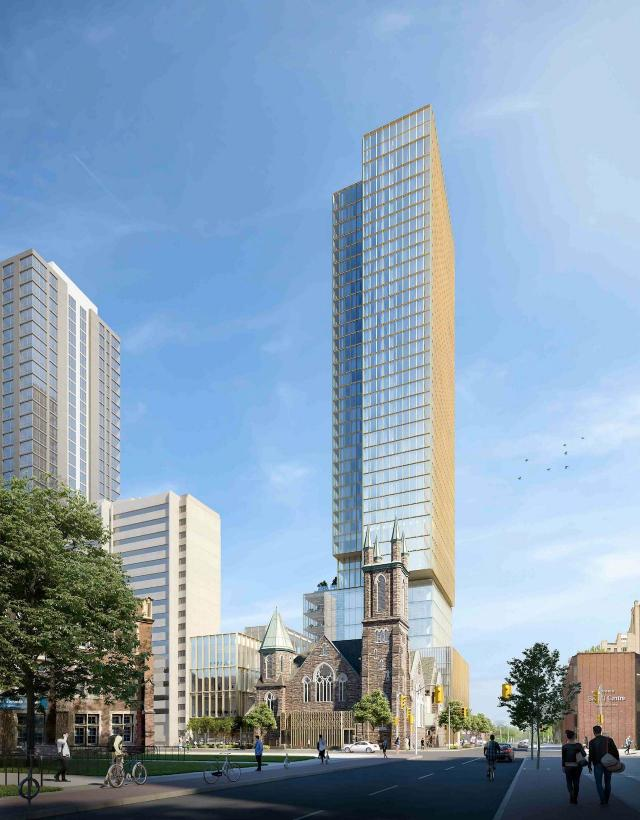 Looking northwest to 300 Bloor West, designed by KPMB for Northrop Development and CollecDev