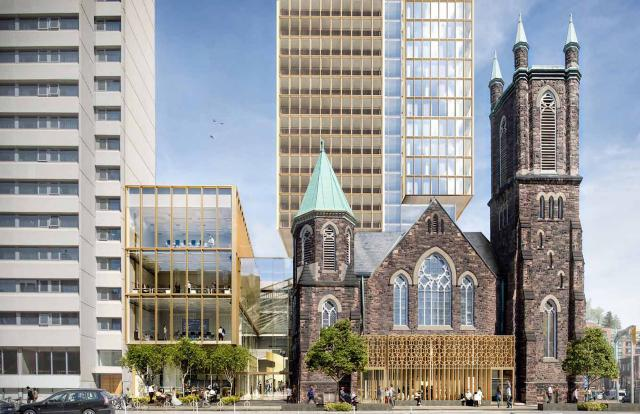 Looking north to the 28-storey of the 300 Bloor West proposal, image by KPMB Architects
