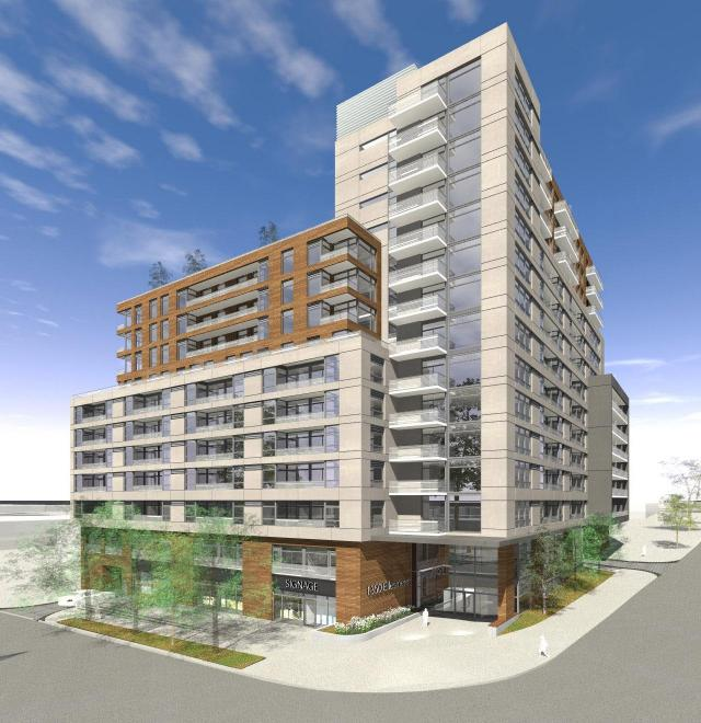 Looking northwest to Galaxy Condos, designed by TACT Architecture for Galaxy Communities