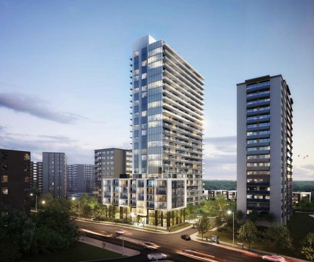 Looking southwest to 6020 Bathurst, designed by WZMH Architects for Timbercreek