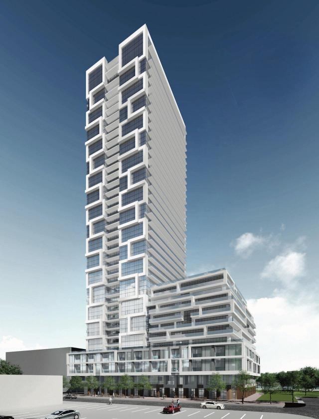 Looking northeast to 5 Defries, designed by Graziani + Corazza Architects for Marlin Spring Developments and Broccolini