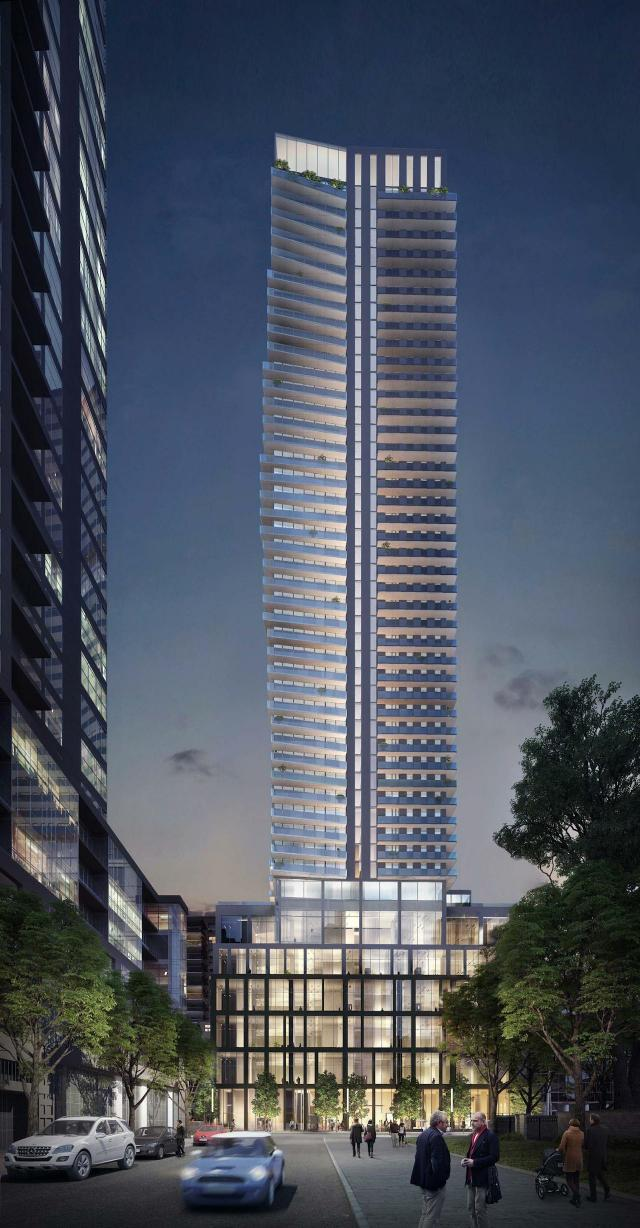 Looking north to 150 Eglinton East, designed by Quadrangle for the Madison Group