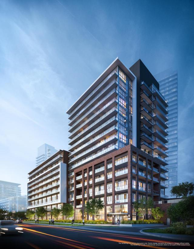 Looking northeast to Lumina at Emerald City, designed by WZMH Architects for ELAD Canada