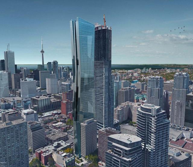 Looking southwest to 415 Yonge Street, addition designed by Kirkor for Marwest