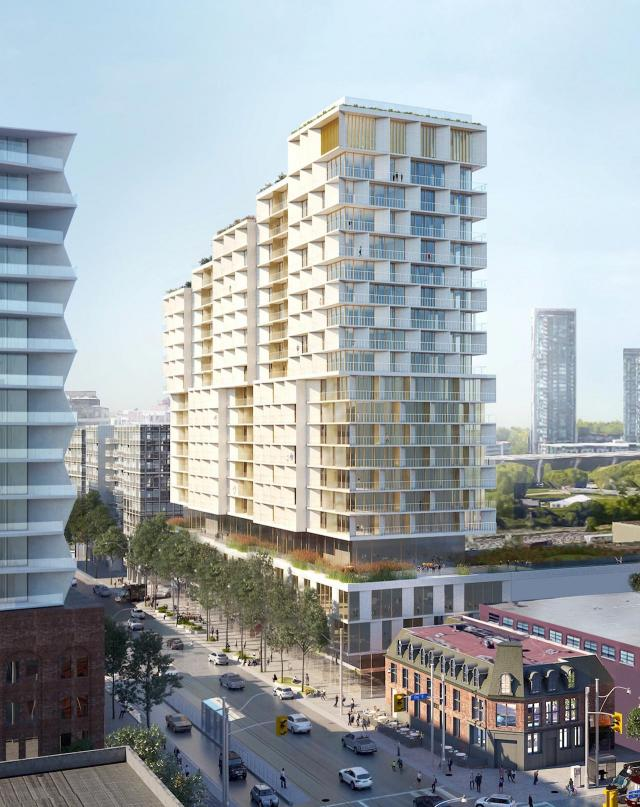 Looking southwest to 64-86 Bathurst, designed by 3XN and Kirkor Architects for Hines