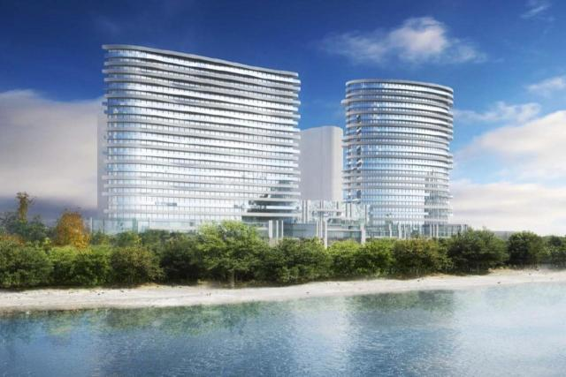 Looking north to 2002 Lake Shore West, designed by Graziani + Corazza Architects for Marlin Spring Developments