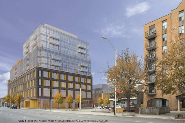 Looking northwest to Verve at 2494 Danforth Avenue, designed by Sweeny &Co Archtects for Tawse Realco Inc.