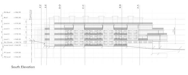 South elevation diagram, 41 Chatsworth, Times Group, Michael Spaziani Architect, Toronto