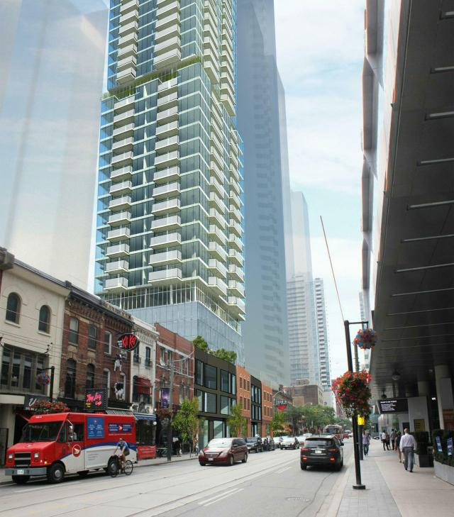 Looking southwest to 305 King West, image by Scott Shields Architects