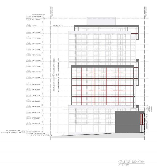 East elevation diagram, 35 Holmes, Maniad, ICON Architects, Toronto