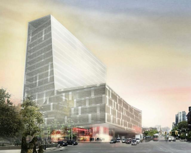 Second rendering for the new Globe and Mail offices at Front and Spadina by KPMB Architects