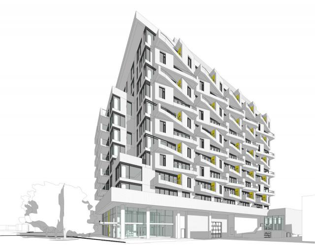 Looking east to 5509 Dundas West, designed by Bogdan Newman Caranci for Contessa Developments