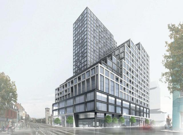 Looking southeast to 351 Queen East, designed by Kirkor Archtects and Planners for ONE Properties
