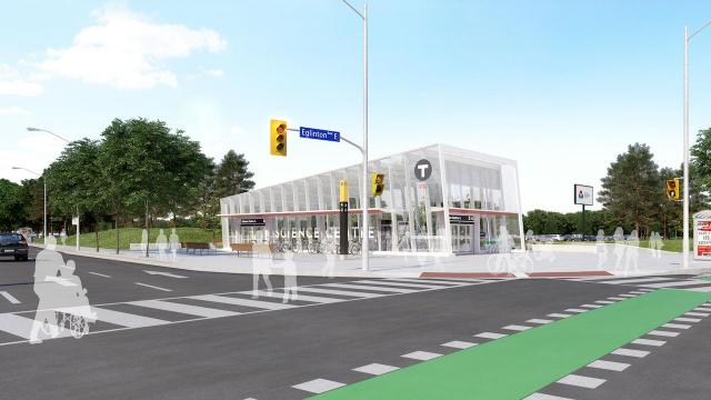 Primary entrance, Science Centre Station, designed by the IBI Group for Metrolinx