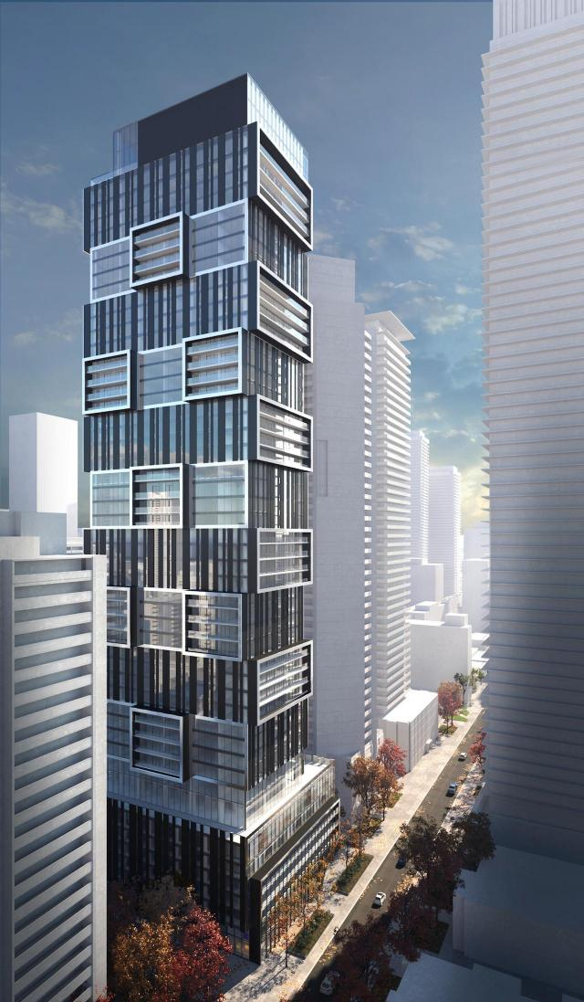Looking southwest to 55 Charles East, designed by architectsAlliance for MOD Developments