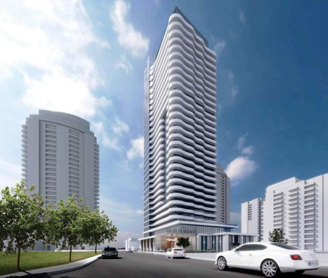 Looking southeast to the 32-storey version of Azura Condos at 15 Holmes Avenue, designed by IBI Group for Capital Developments