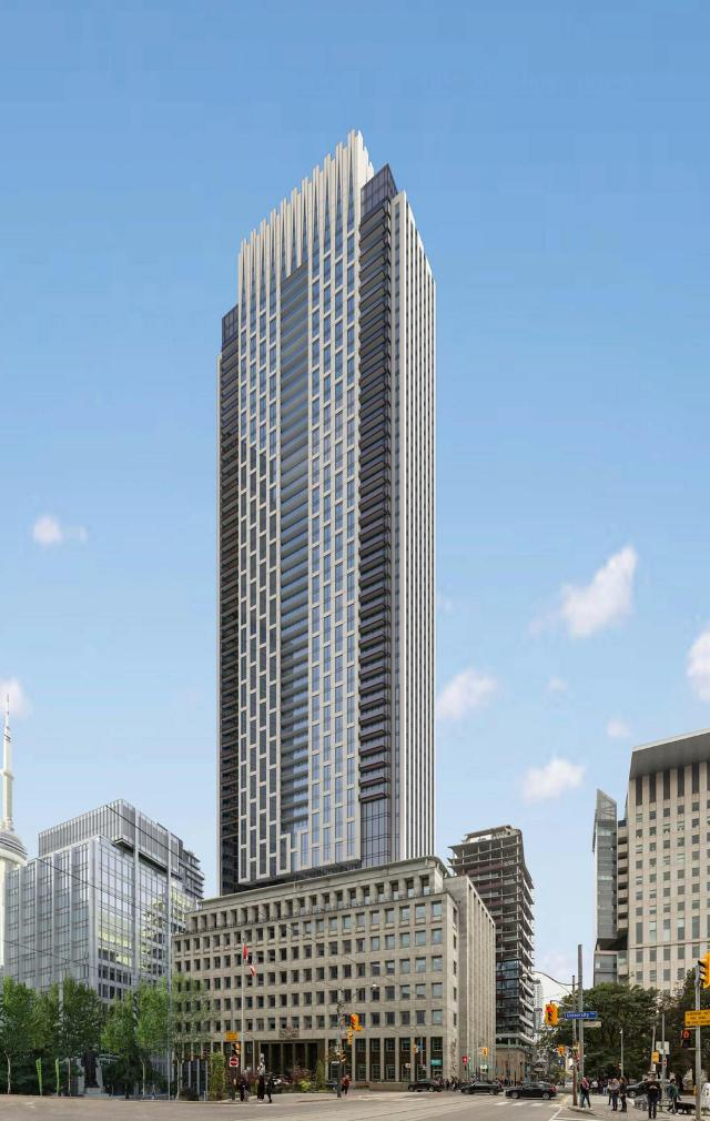 Looking southwest to 250 University, designed by IBI Group for Northam Realty Advisors