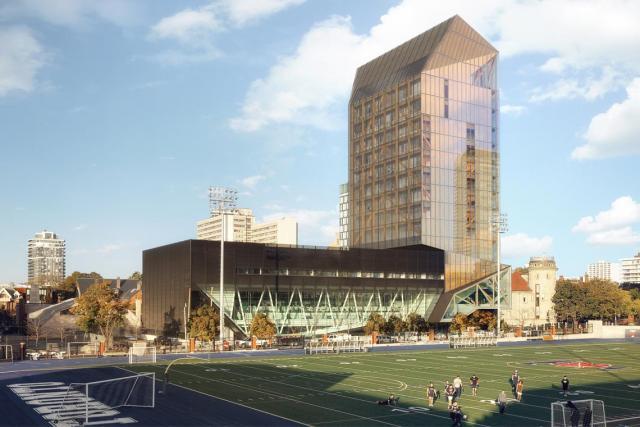 Looking northwest to the U of T: Academic Wood Tower, University of Toronto, designed by Patkau Architects and MJMA