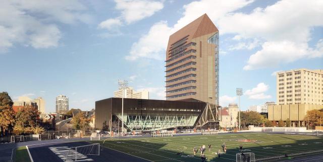Looking northwest to U of T: Academic Wood Tower, University of Toronto, Patkau Architects, MJMA