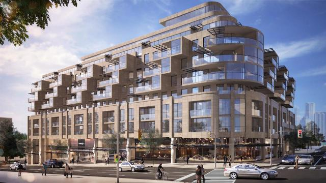 Looking southwest to Glenhill Condominums at 2788 Bathurst Street, designed by IBI Group for Lanterra Developments