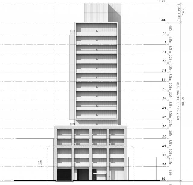 South elevation, 276-290 Merton, designed by Wallman Architects for the Rockport Group