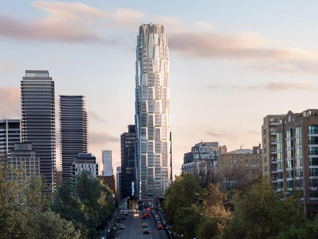 Looking south toward One Delisle, designed by Studio Gang Architects for Slate Asset Management