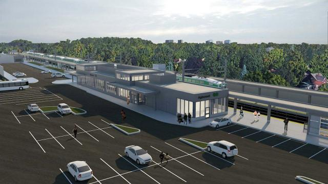 Looking northeast to the Agincourt GO station building, image courtesy of Metrolinx