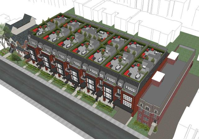 Aerial view looking northwest to Birch Avenue Townhomes, North Drive, Richard Wengle, Toronto