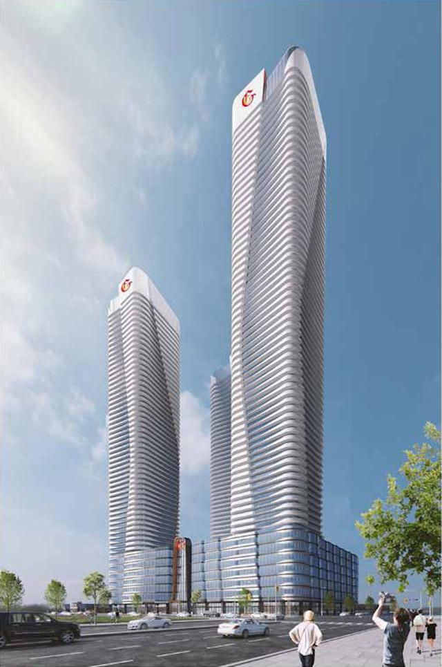 Looking northwest to 7028 Yonge, designed by IBI Group for the Gupta Group