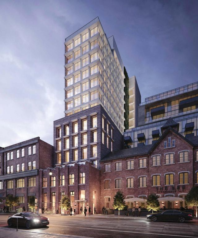 Looking northwest to 580 King West, image by AUDAX architecture