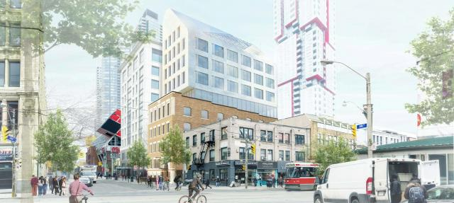 Looking southwest across Queen Street to 160 John Street, image by SvN Architects + Planners