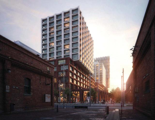 Looking northeast to Block 8 from the Distillery District, image via submission to the City of Toronto